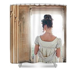 Regency Woman Under A Colonnade Shower Curtain by Lee Avison
