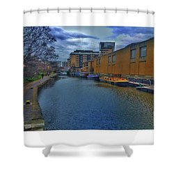 #regents #canal #london #boats #ripples Shower Curtain by Tai Lacroix