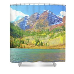 Shower Curtain featuring the photograph The Maroon Bells Reimagined 1 by Eric Glaser