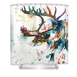Shower Curtain featuring the painting Reindeer by Zaira Dzhaubaeva