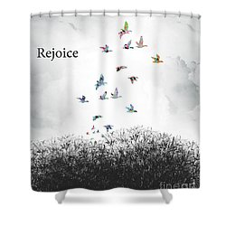 Shower Curtain featuring the digital art Rejoice by Trilby Cole