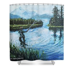 Relaxing @ Fly Fishing Shower Curtain