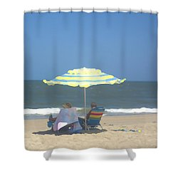 Shower Curtain featuring the photograph Relaxing On The Chesapeake Bay Va Beach by Suzanne Powers