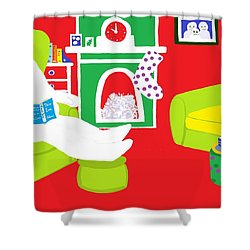 Shower Curtain featuring the digital art Relaxing Snowman by Barbara Moignard