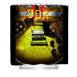 Shower Curtain featuring the photograph Relic Guitar Music Patriotic Usa Flag by Guitar Wacky