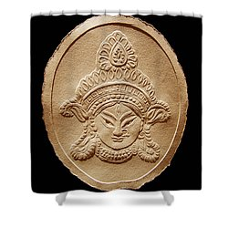 Relief Drawing Of Goddess Durga Devi  Shower Curtain
