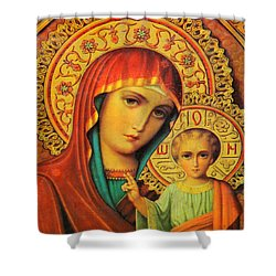 Religion In Red Shower Curtain