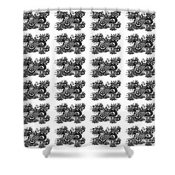 Shower Curtain featuring the drawing Religious Illustration Because I Love You Black And White Pattern by Saribelle Rodriguez