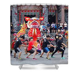 Religious Martial Arts Performance In Taiwan Shower Curtain by Yali Shi