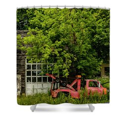 Remains Of An Old Tow Truck And Garage Shower Curtain by Ken Morris