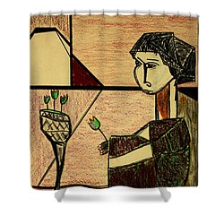 Shower Curtain featuring the drawing Remembering by Bill OConnor