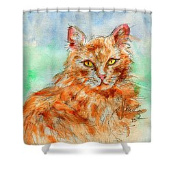Remembering Butterscotch Shower Curtain by P J Lewis