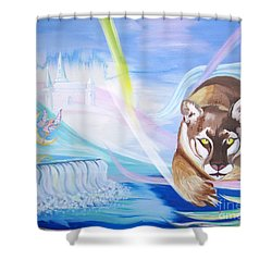 Shower Curtain featuring the painting Remembering Childhood Dreams by Phyllis Kaltenbach