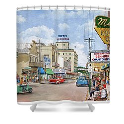 Shower Curtain featuring the painting Remembering Duval St. by Bob George