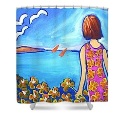 Shower Curtain featuring the painting Remembering Joy by Winsome Gunning