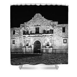 Remembering The Alamo - Black And White Shower Curtain