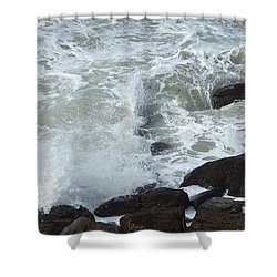 Shower Curtain featuring the photograph Remous Sur Falaise by Marc Philippe Joly