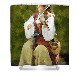 Shower Curtain featuring the digital art Renaissance Fiddler Lady by Francesa Miller