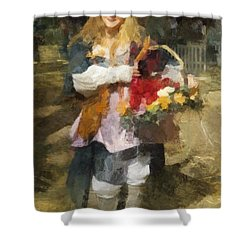 Shower Curtain featuring the digital art Renaissance Flower Lady by Francesa Miller