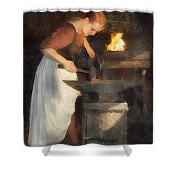 Shower Curtain featuring the digital art Renaissance Lady Blacksmith by Francesa Miller