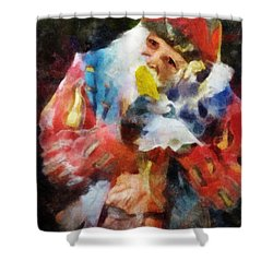 Shower Curtain featuring the digital art Renaissance Man With Corn On The Cob by Francesa Miller