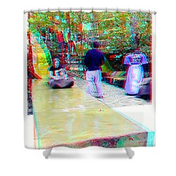 Shower Curtain featuring the photograph Renaissance Slide - Red-cyan 3d Glasses Required by Brian Wallace