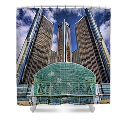 Rencen Detroit Gm Renaissance Center Shower Curtain by Gordon Dean II