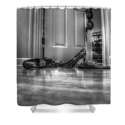 Rendezvous Do Not Disturb 05 Bw Shower Curtain by Andy Lawless