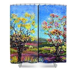 Renew And Refresh Diptych Orientation 2 Shower Curtain by Regina Valluzzi