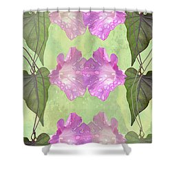 Repeated Morning Glories Shower Curtain by Rosalie Scanlon