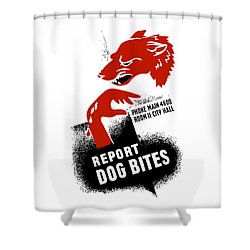 Shower Curtain featuring the mixed media Report Dog Bites - Wpa by War Is Hell Store