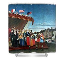 Representatives Of The Forces Greeting The Republic As A Sign Of Peace Shower Curtain by Henri Rousseau