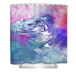 Shower Curtain featuring the mixed media Reptile Profile by Jutta Maria Pusl