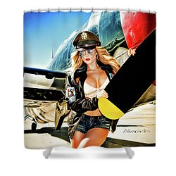 Republic P 47 Razorback Shower Curtain By Robert Alvarado