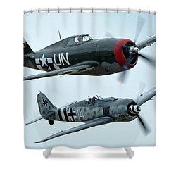Republic P-47g Thunderbolt Nx3395g Focke Wulf Fw 190a-9 N190rf Chino California April 30 2016 Shower Curtain by Brian Lockett
