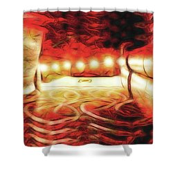 Shower Curtain featuring the digital art Reservations - Row C by Wendy J St Christopher
