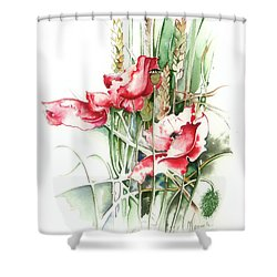 Shower Curtain featuring the painting Residents Of Green Fields by Anna Ewa Miarczynska