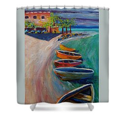 Resort Time Shower Curtain by Anne Marie Brown