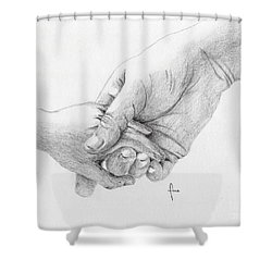 Shower Curtain featuring the drawing Responsibility by Annemeet Hasidi- van der Leij