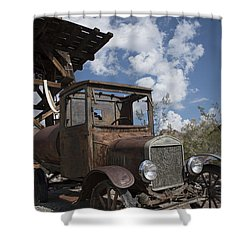 Rest Stop Shower Curtain by Annette Berglund