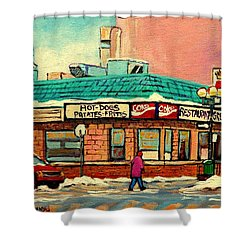 Restaurant Greenspot Deli Hotdogs Shower Curtain by Carole Spandau