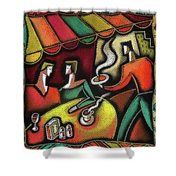 Shower Curtain featuring the painting Restaurant by Leon Zernitsky