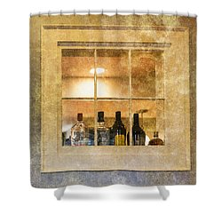 Shower Curtain featuring the photograph Restaurant Window by Tom Singleton