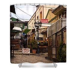 Restaurants In The Bazaar Shower Curtain by Rae Tucker