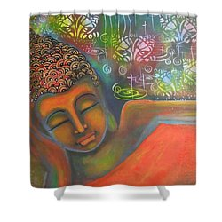 Shower Curtain featuring the painting Buddha Resting Against A Colorful Backdrop by Prerna Poojara
