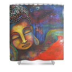 Buddha Resting Under The Full Moon  Shower Curtain by Prerna Poojara