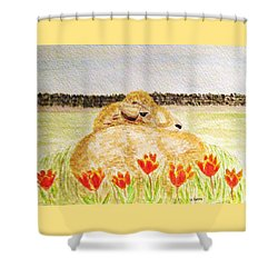 Resting In The Tulips Shower Curtain by Angela Davies