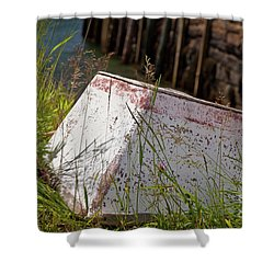 Shower Curtain featuring the photograph Resting Rowboat by Susan Cole Kelly