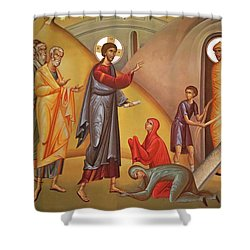 Shower Curtain featuring the painting Resurrection Of Lazarus by Munir Alawi