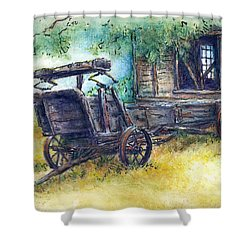 Shower Curtain featuring the drawing Retired At Last by Retta Stephenson